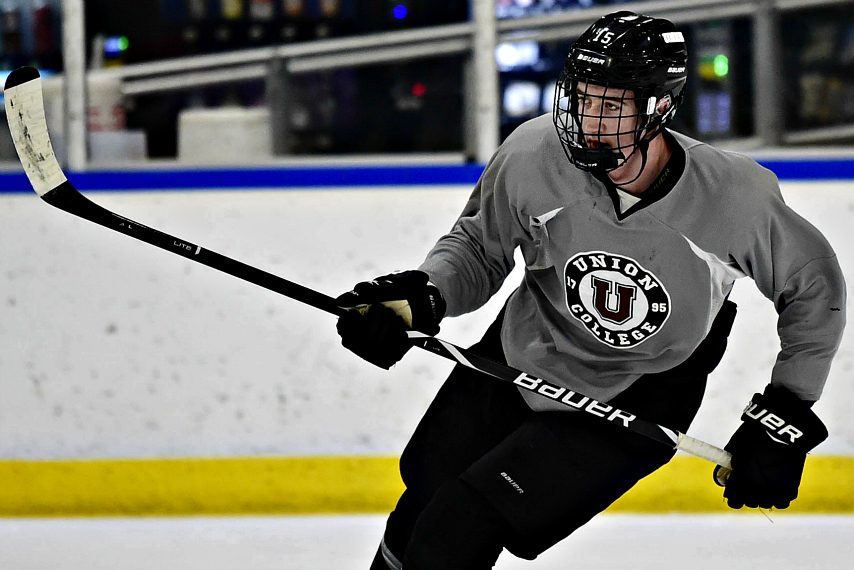 Jack Adams is shown at a recent Union College men's hockey practice.
