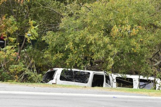 The limo seen Saturday in the ravine