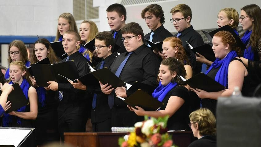 Schoharie Central School Select Choir sings at a Community Gathering for Consolation and Hope Interfaith Prayer Vigil