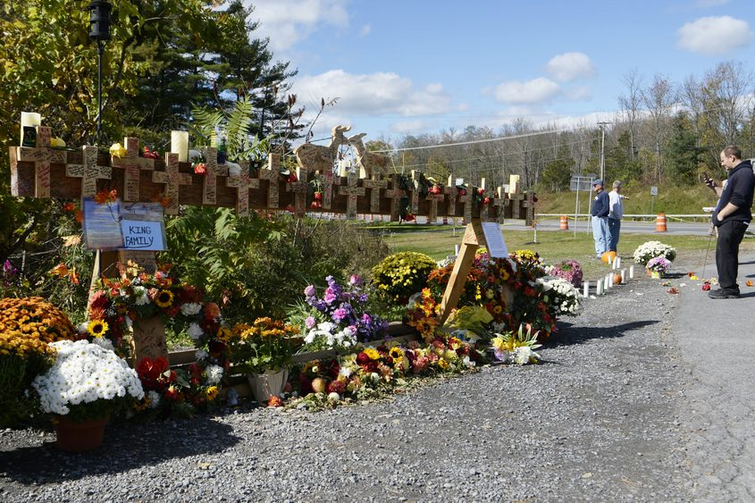 Patrons of the Apple Barrel Cafe visit the Schoharie limo tragedy memorial at Route 30 and Route 30A