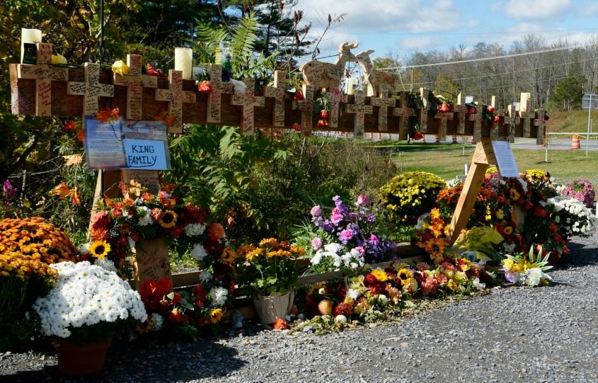 The crash site memorial at Routes 30 and 30A in Schoharie Oct. 16