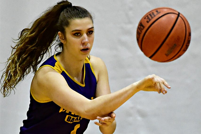 Julie Ford makes a pass during a recent UAlbany women's basketball practice.
