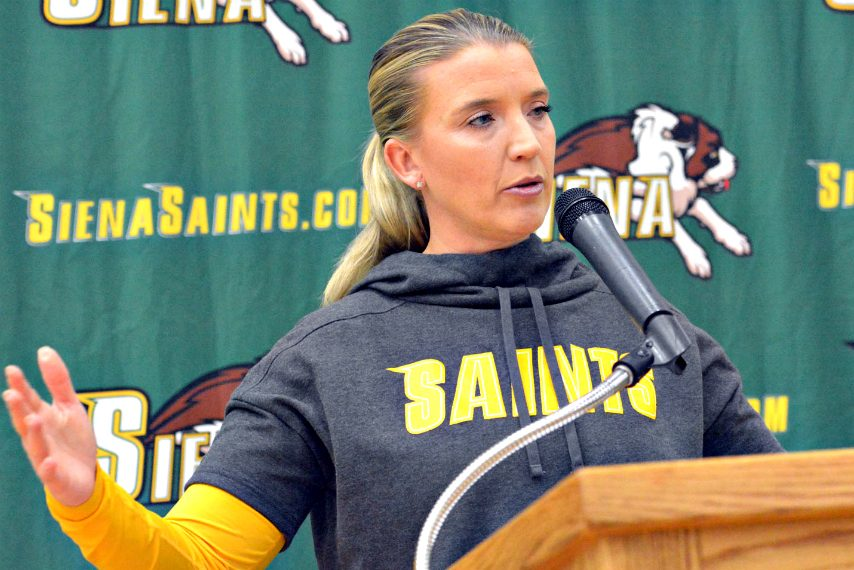 Ali Jaques speaks during Tuesday's media day.