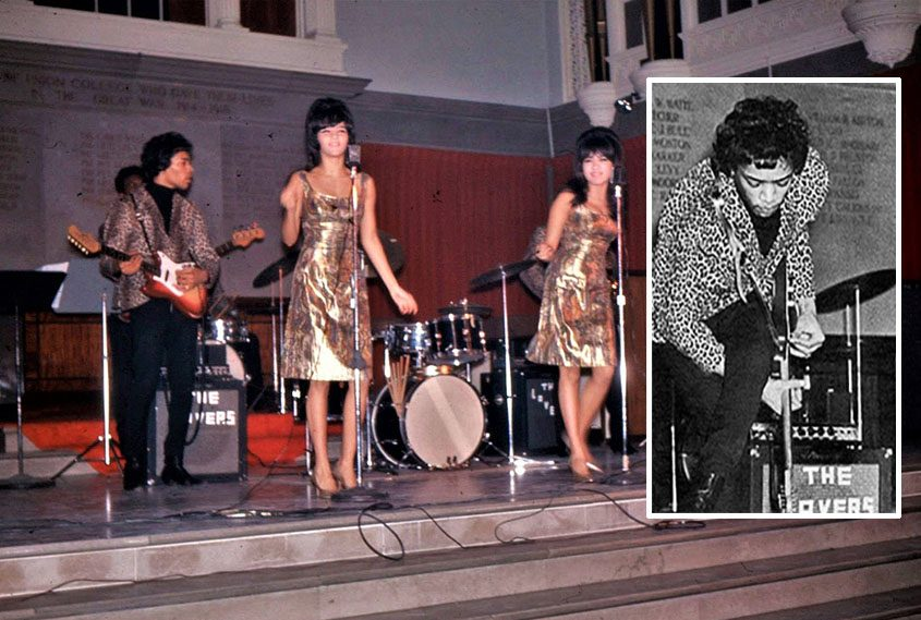 Jimi Hendrix at Union College in the mid-1960s with The Ronettes; inset: reaching between his legs to play guitar.