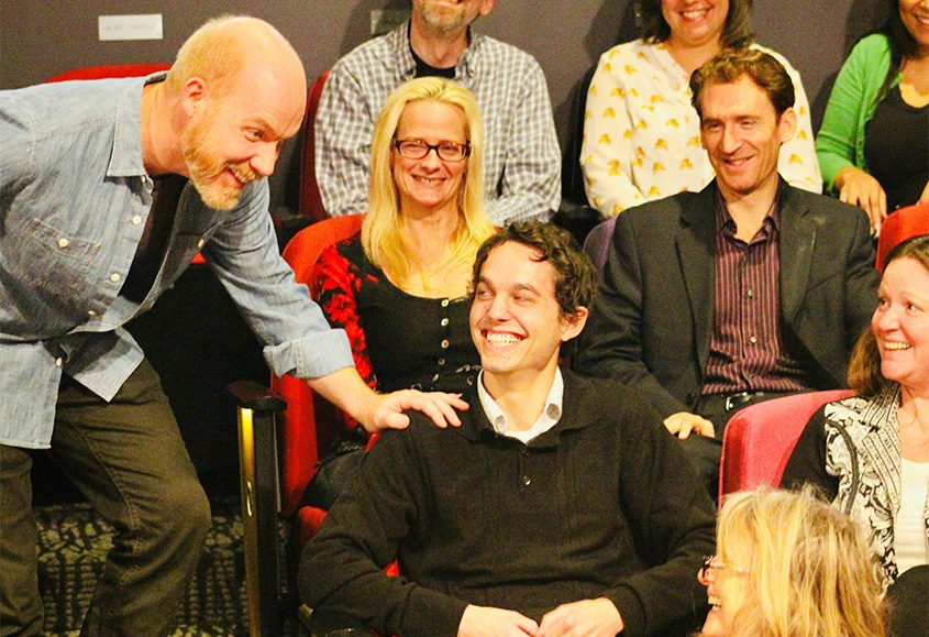"""Audience engagement is part of """"Every Brilliant Thing,"""" with actor Kevin Gardner, left, at Curtain Call Theatre."""