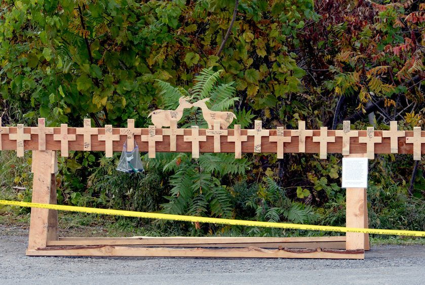 A wooden memorial stands at the site of the fatal limo crash in Schoharie a few days after the tragedy.