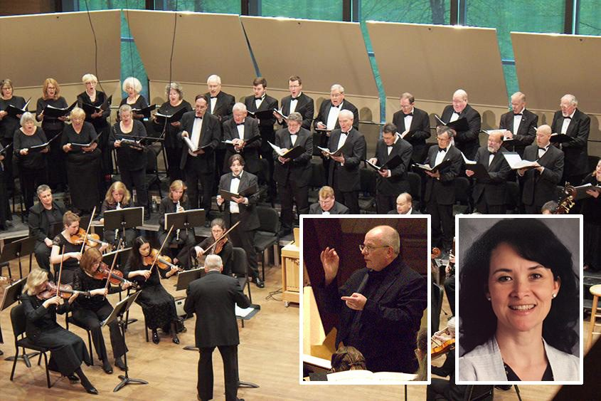 The Burnt Hills Oratorio Society performs at Skidmore College in 2016. Inset: William Jon Gray and Ann Derrick.