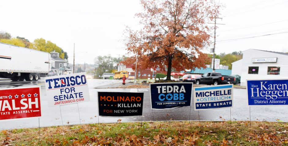 Election signs on Milton Ave on peoples lawns in Ballston Spa, on Thursday, November 1, 2018.