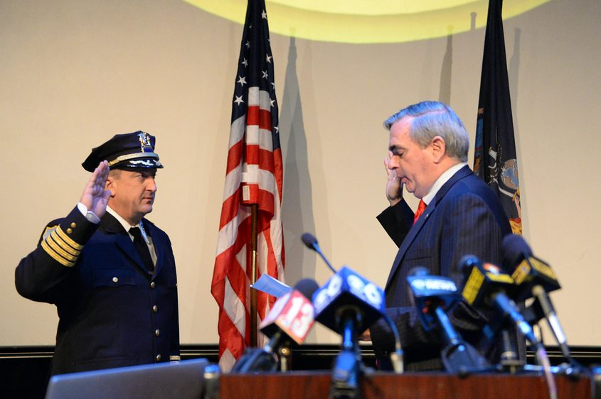Eric Clifford is sworn in as Schenectady police chief on Sept. 13, 2016