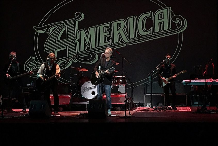 America performs before a sold-out Hart Theatre at The Egg Saturday night.