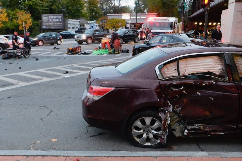The crash scene at Erie and Union