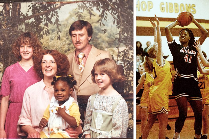 Devan Diabate with her foster parents Donna and Bill Hunt and their biological daughters; right: on the basketball court.