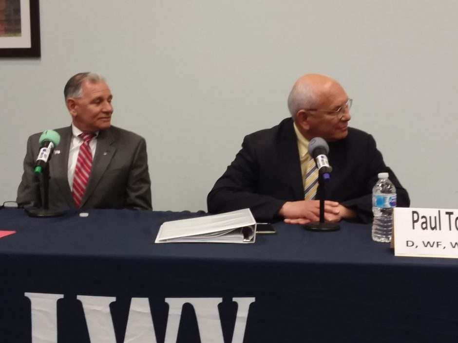Republican candidate Joe Vitollo, left, and Democrat Rep. Paul Tonko appear at a forum Tuesday in Clifton Park.