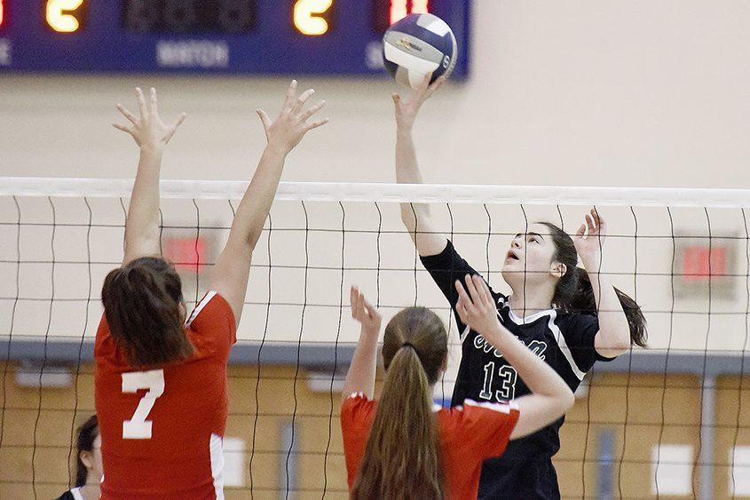 Shenendehowa senior Olivia DeBortoli hits the ball in Thursday's Section II Class AA volleyball final against Niskayuna.