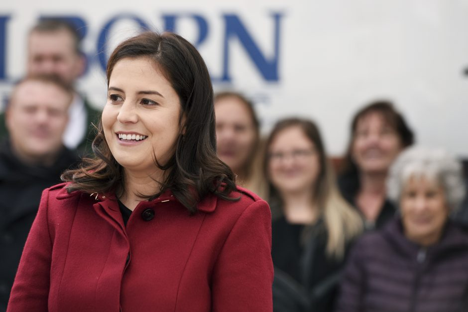Congresswoman Elise Stefanik during a press conference with officials at Curtis Lumber in Ballston Spa, October 25, 2018.
