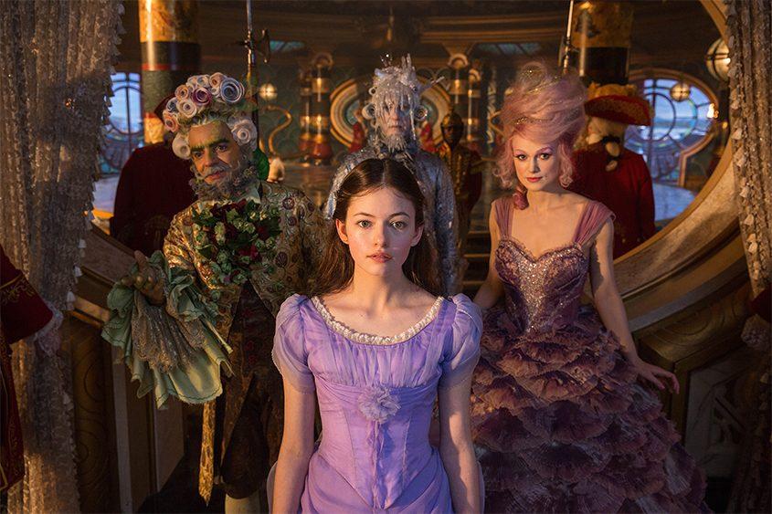 "Mackenzie Foy, Keira Knightley, Eugenio Derbez and Richard E. Gran in ""The Nutcracker and the Four Realms."""