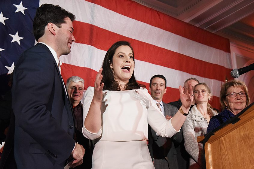U.S. Rep. Elise Stefanik gives her victory speech Tuesday in Glens Falls.