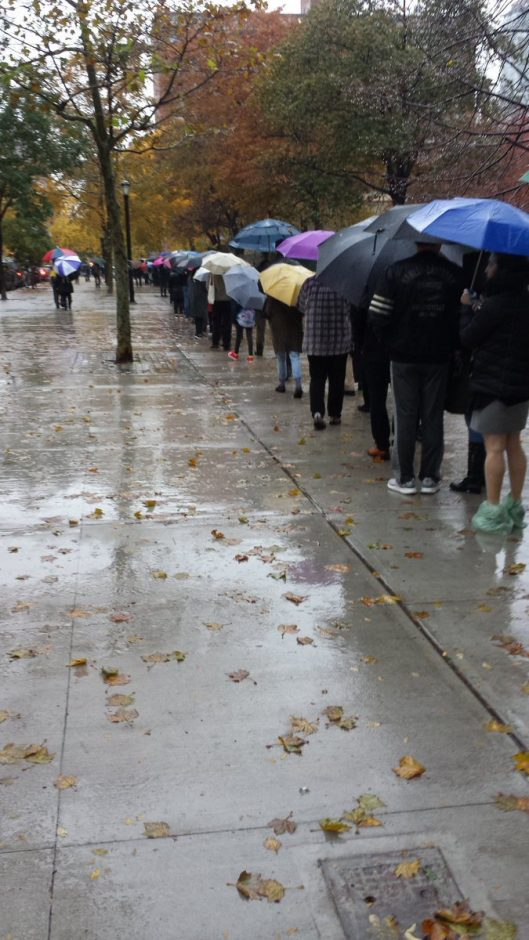 New York City residents were among many New Yorkers who waited in long lines to vote Tuesday.