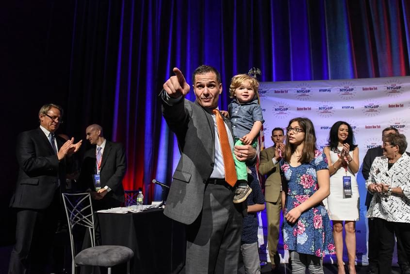 Marc Molinaro is seen at the New York State Republican Convention in May with his son, Elias, and daughter, Abigail.