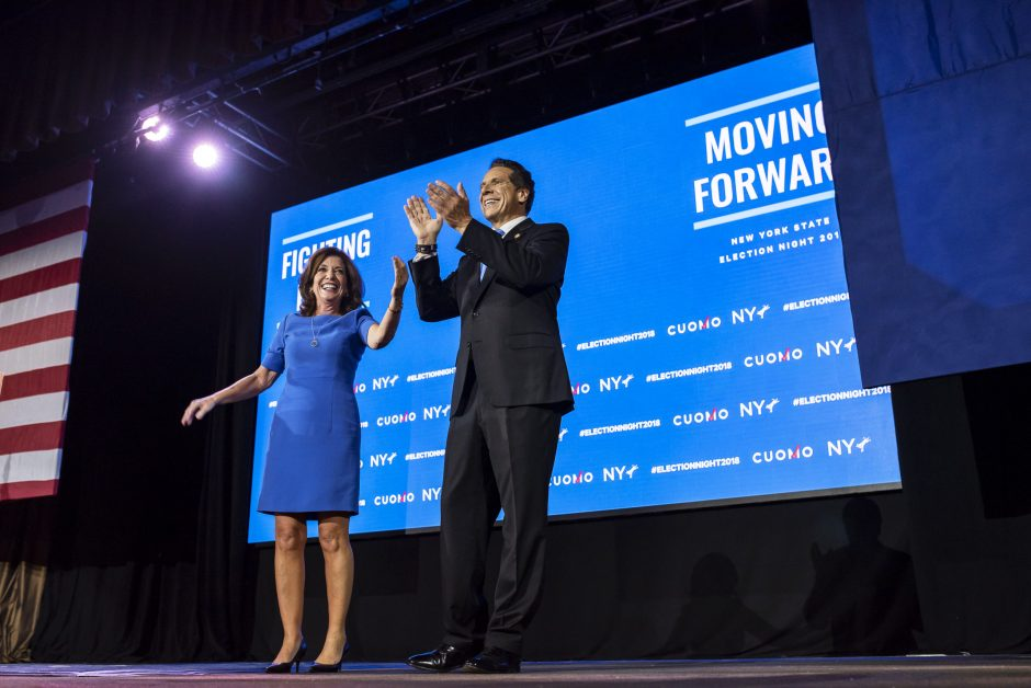 Lt. Gov. Kathy Hochul and Gov. Andrew Cuomo celebrate after winning their midterm election contests, in New York.