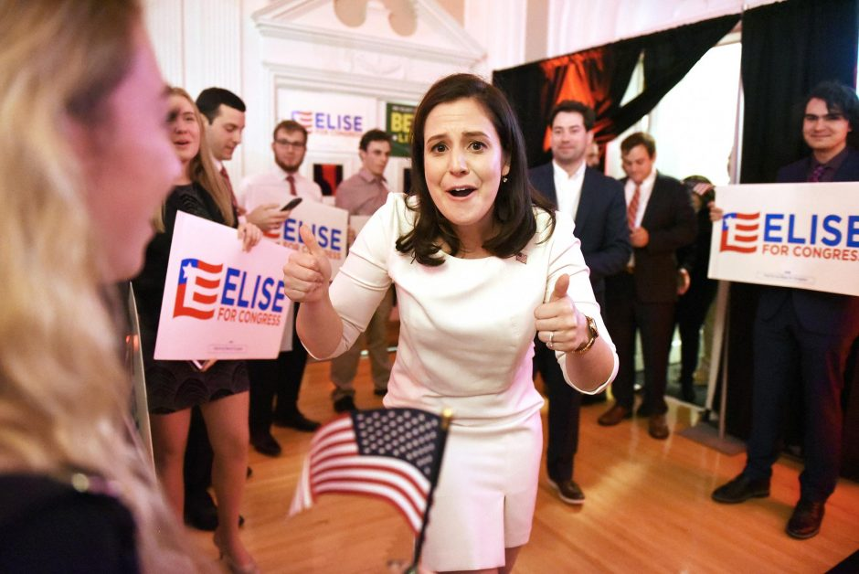 Congresswoman Elise Stefanik declares victory at the Republican Headquarters at Queensbury Hotel in Glens Falls on Tuesday.