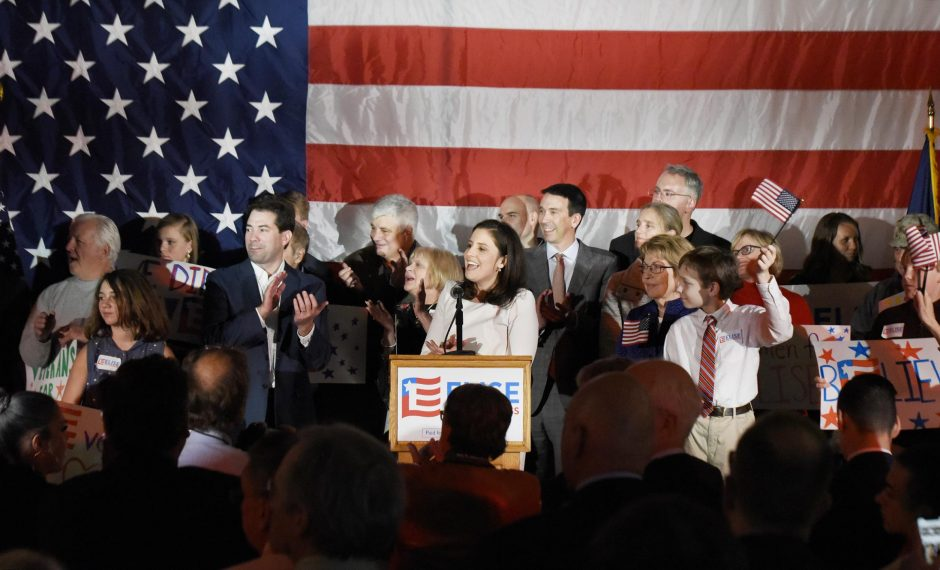 Elise Stefanik declares victory at the Republican Headquarters at Queensbury Hotel in Glens Falls on Tuesday.