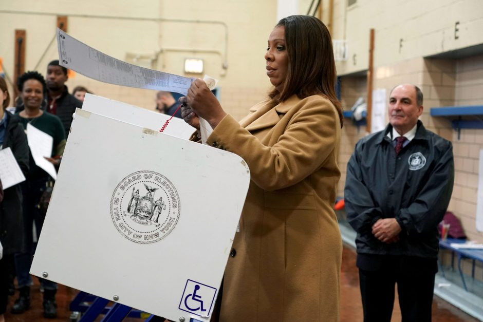 Letitia James votes in a polling pace set up in Public School 11 in Brooklyn on Tuesday, Nov. 6, 2018.