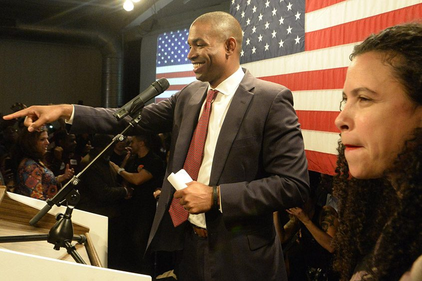 Antonio Delgado speaks to supporters Tuesday after defeating U.S. Rep. John Faso.