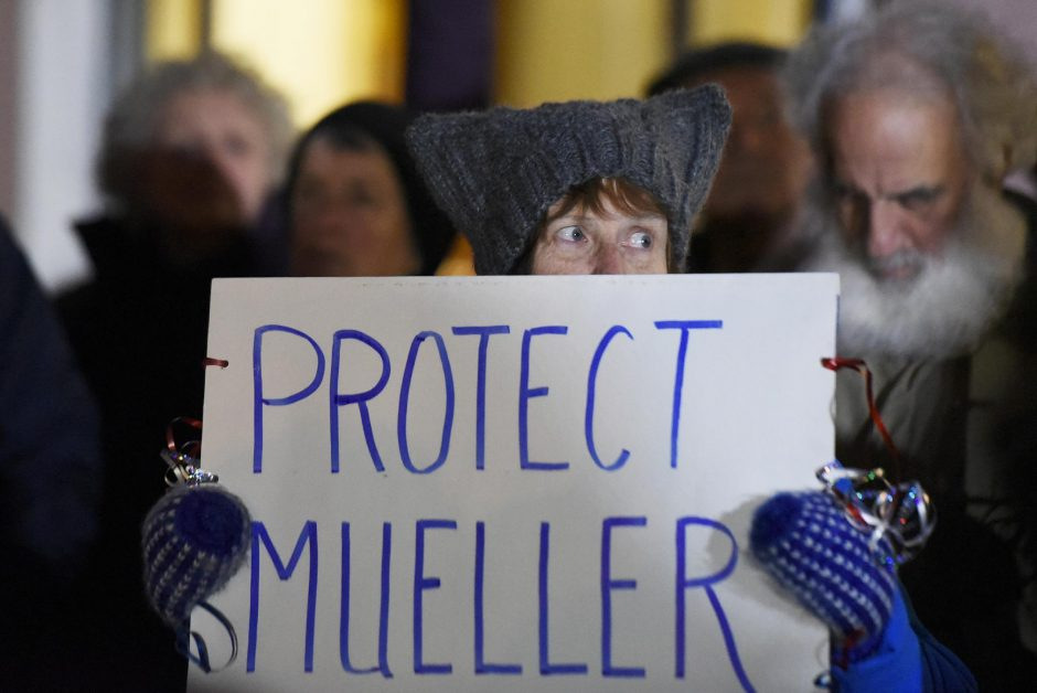 """Community members at a National """"Nobody is Above the Law, a Robert Mueller Rapid Response Event""""on Thursday."""