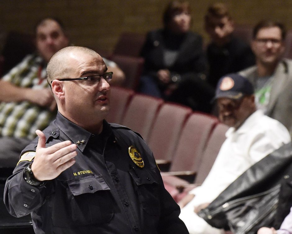 Niskayuna Deputy Police Chief Michael Stevens gestures while discussing the lockdown at Wednesday's forum.