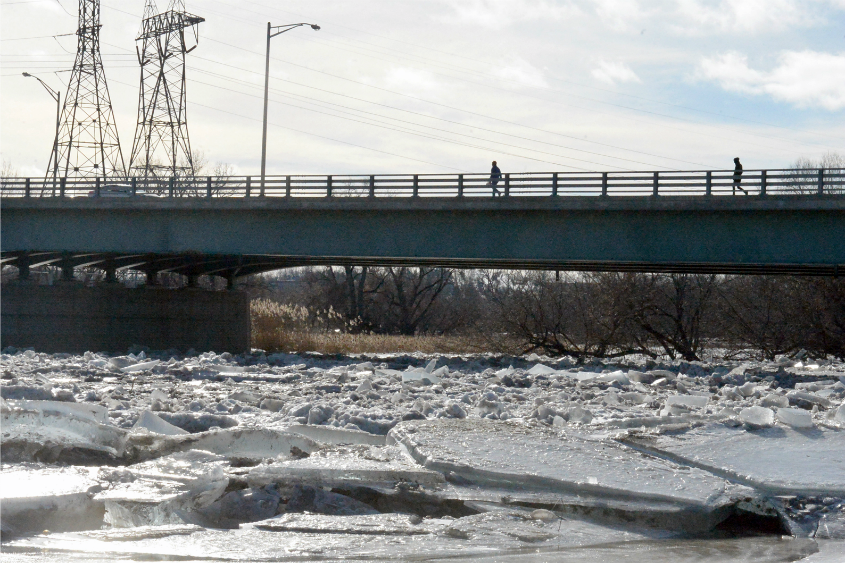 Ice jams up in front of Jumpin' Jacks in Scotia earlier this year.