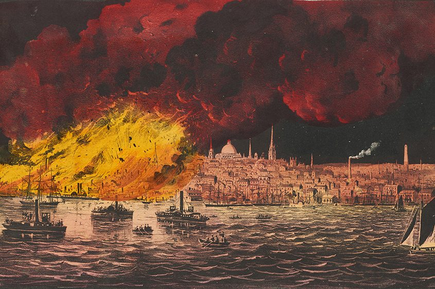 """The Great Fire at Boston"" by Currier & Ives"