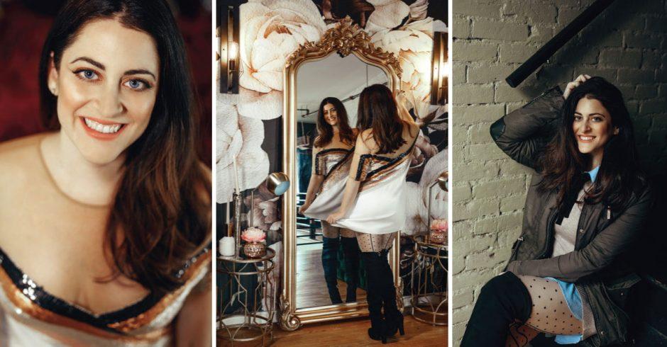 Stylist Randi Poillon modeling the glitz and glam style of the holiday season.