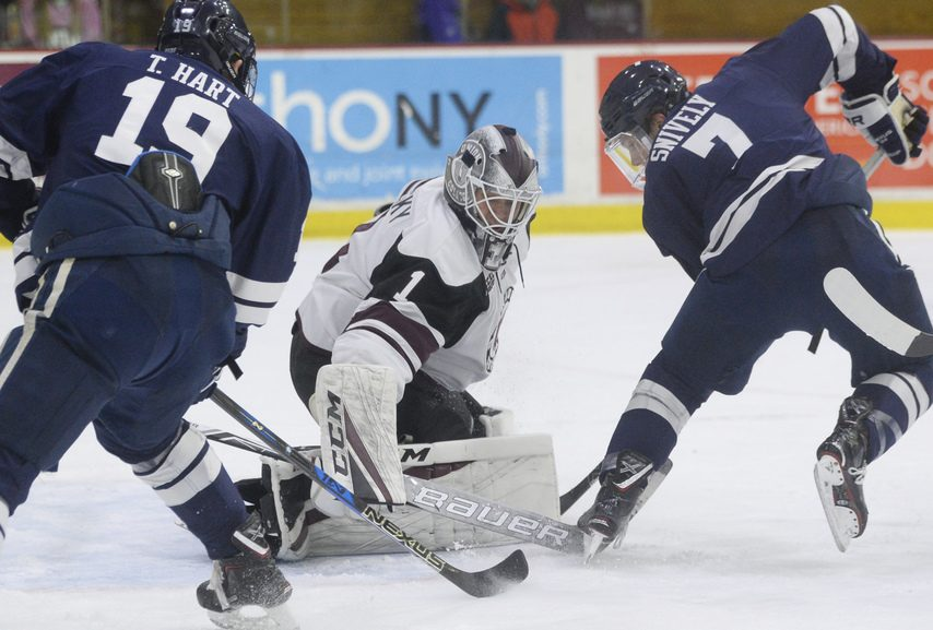 Union's Jake Kupsky makes a save in a 5-3 loss to Yale last season. Union faces Yale in Northern Ireland on Nov. 23.