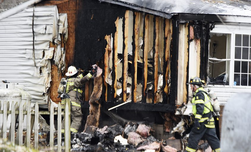 Firefighters at the scene of Thursday's blaze in Moreau