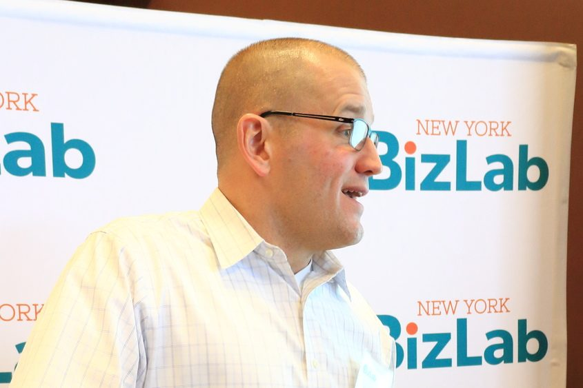 Jason Jahnel, chief operating officer of the Jahnel Group, speaks Thursday at the New York BizLab in Schenectady.