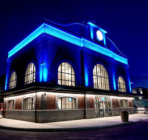 The new Schenectady train station after dark.