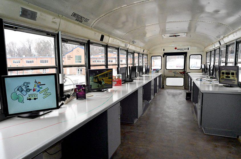 Niskayuna STEAM Bus mobile classroom at Hillside Elementary on Monday morning.