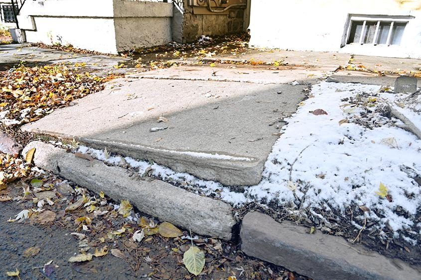 A section of sidewalk on Front Street in Schenectady's Stockade neighborhood