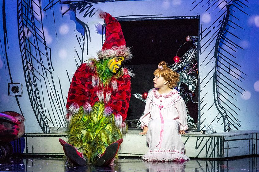 """The Grinch and Cindy Lou Who in a scene from the touring production of """"How the Grinch Stole Christmas! The Musical."""""""