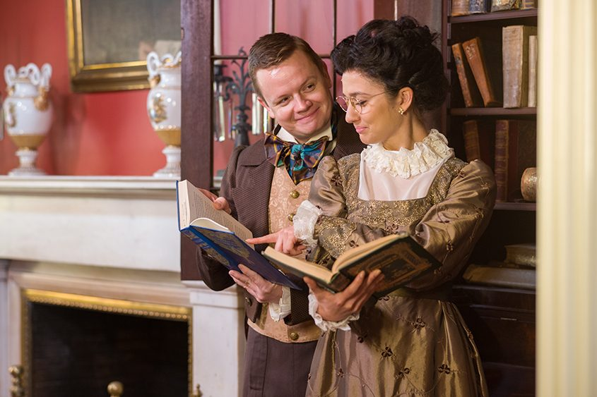"""Connie Castanzo as Mary and Sean Mellott as Arthur de Bourgh in  """"Miss Bennet: Christmas at Pemberley."""""""