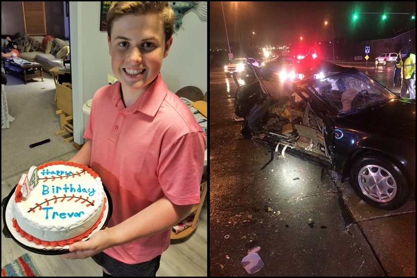 Trevor Jackson Canaday celebrated his 14th birthday with this cake June 7, 2018, and was killed in this crash on Dec. 1.