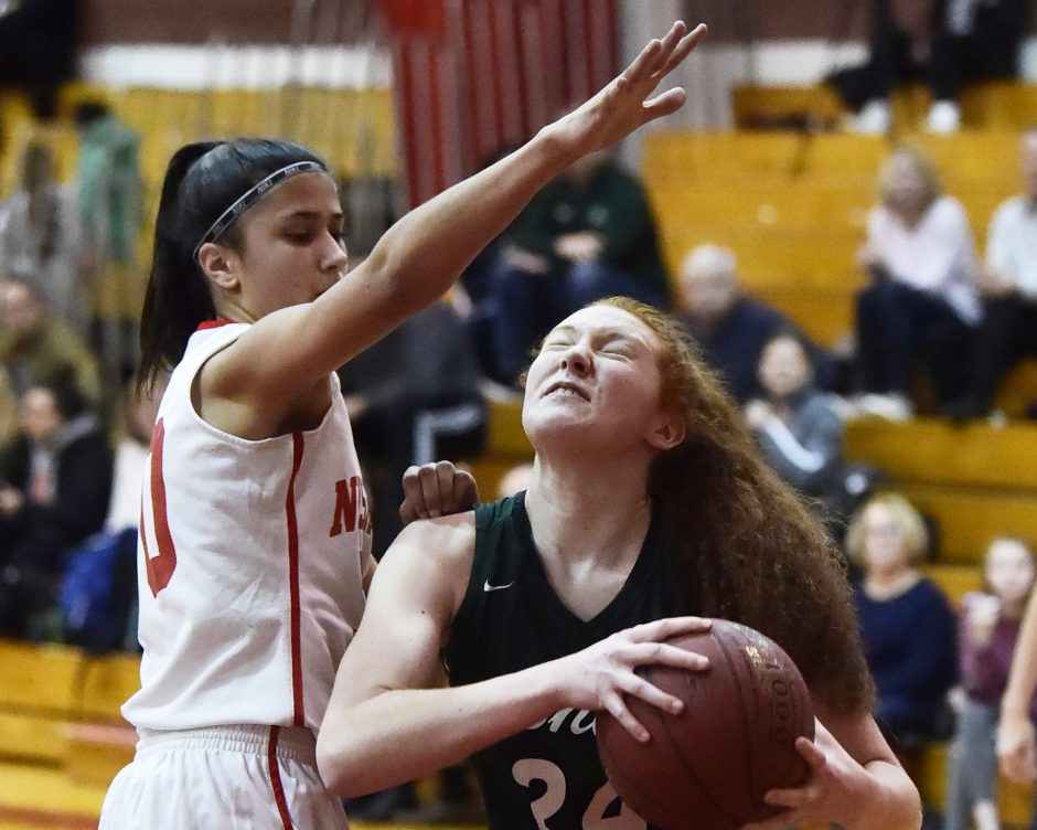Shenendehowa's Bella Stuart tries to take a shot while being blocked by Niskayuna's Olivia Olsen on Tuesday.