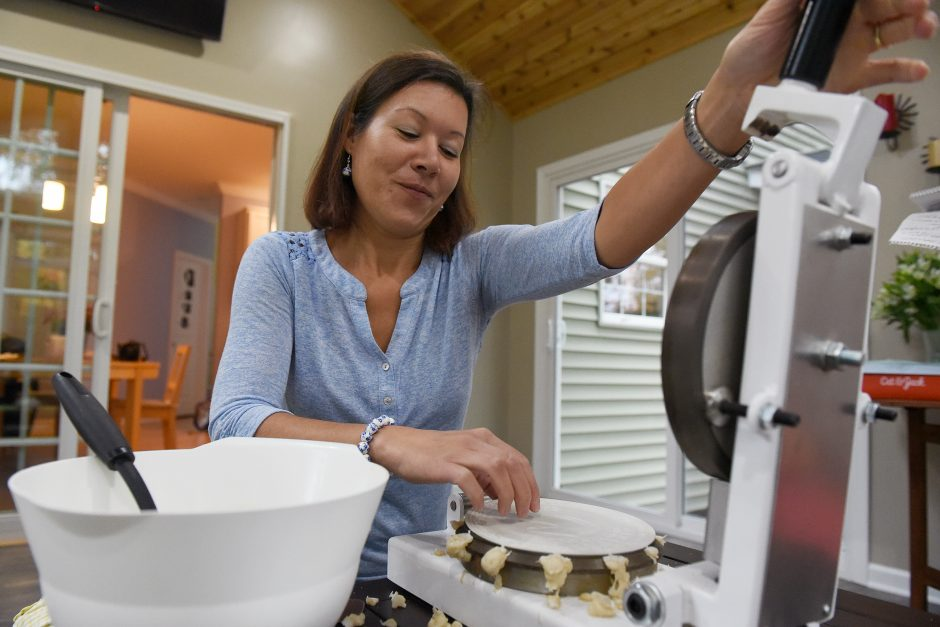 Zuzana Lundeen makes her traditional Slovakian Oplatki in her home in Saratoga Springs, October 28, 2018.