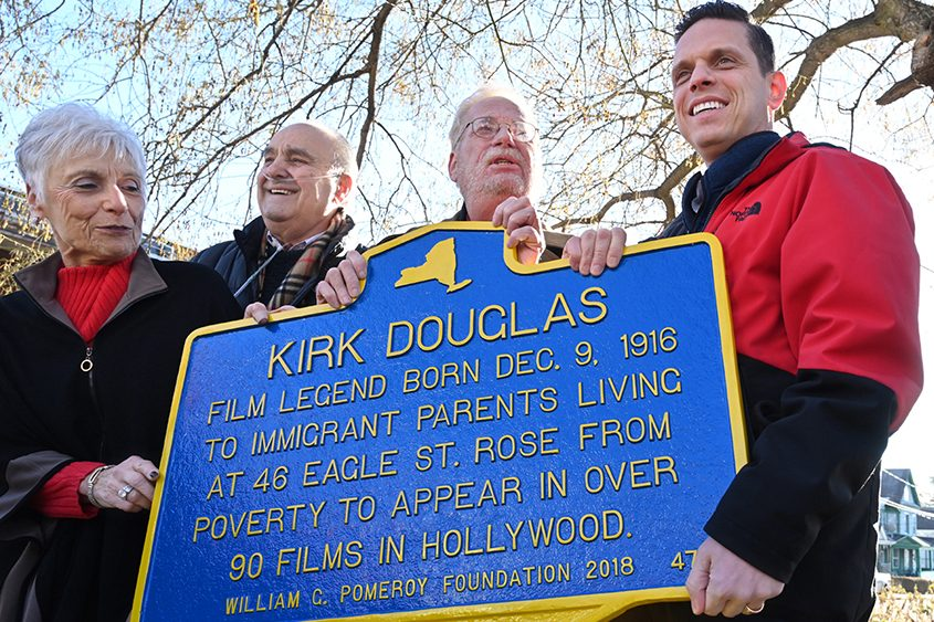 A historic marker celebrating native son Kirk Douglas is unveiled Sunday in Amsterdam.