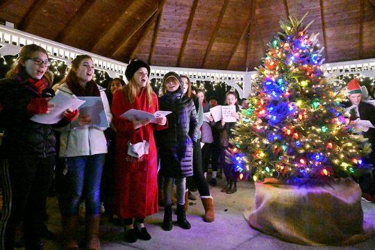 Niskayuna Town Hall Christmas Tree lighting with students from Niskauna High School caroling songs Dec. 9