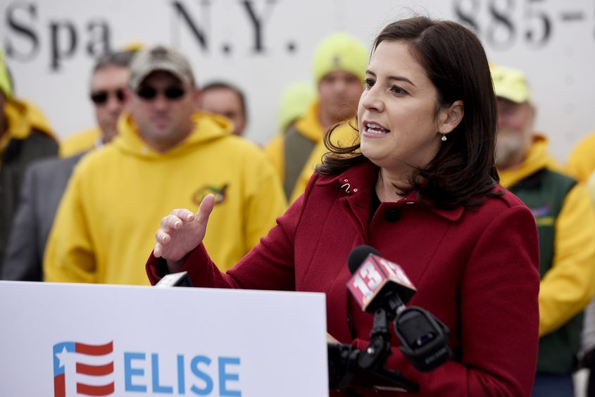 Elise Stefanik speaks at a press conference with officials at Curtis Lumber in Ballston Spa on Oct. 25.