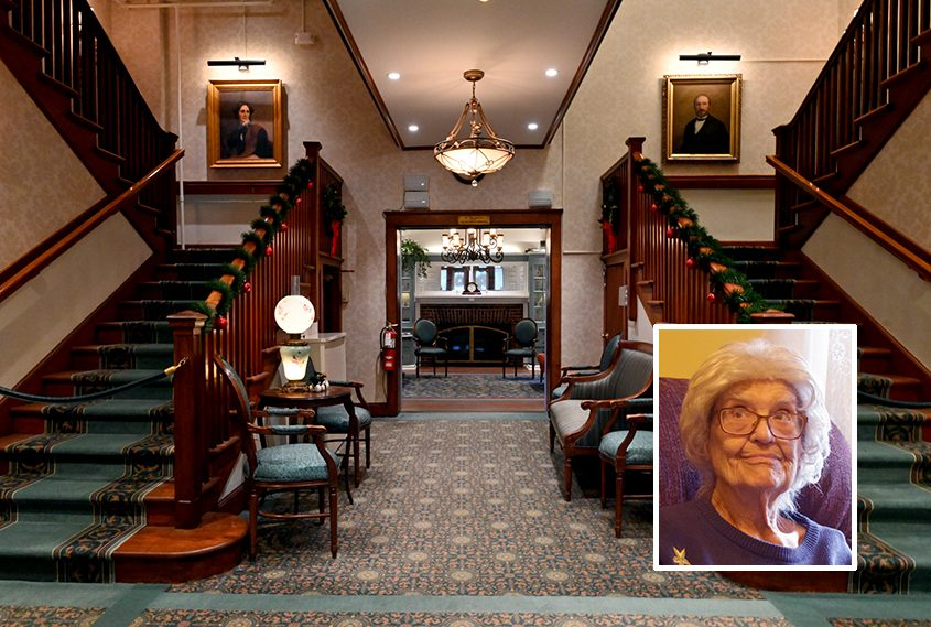 Two sweeping staircases leading to the upper floors at Heritage Home. Inset: Dorothy Allen.