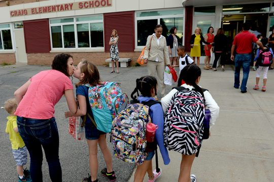Students arrive for the first day of school at Craig Elementary in Niskayuna on Sept. 6, 2016.