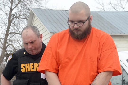 Kevin Hodgins, 30, of Central Bridge is led into Schoharie Town Court in April